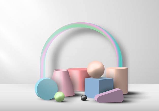 Conjunto de exibição de cor pastel de objeto geométrico 3d em fundo branco. ilustração vetorial
