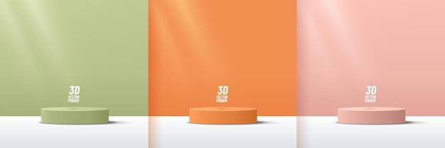 Conjunto de exibição de pódio de pedestal de cilindro rosa laranja verde com cena mínima em cores pastel