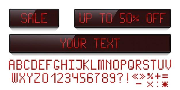 Conjunto de exibição de pontos de led vermelho e fonte digital led isolada no fundo branco.