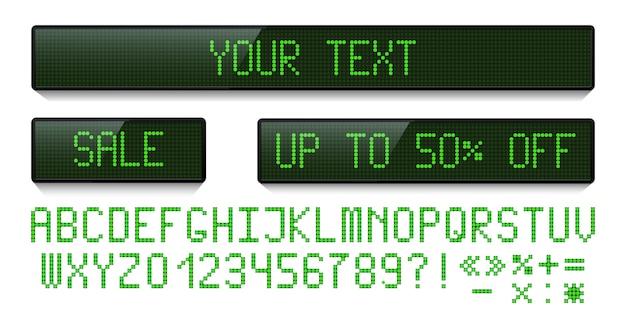 Conjunto de exibição de pontos led verde e fonte digital isolada no fundo branco.