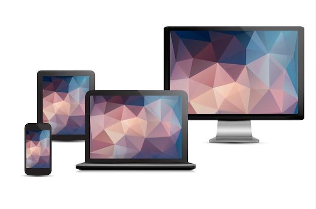 Conjunto de exibição realista, laptop, computador tablet e modelo de telefone móvel com fundos de polígono.