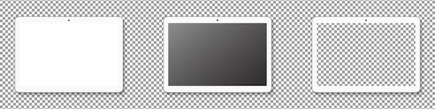 Conjunto de exibição tablet moderno. maquete realista tablet isolada em fundo transparente. ilustração realista.