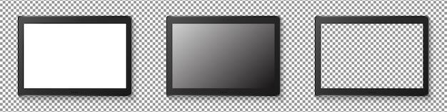 Conjunto de exibição tablet moderno. tablet realista isolado em fundo transparente. ilustração realista.
