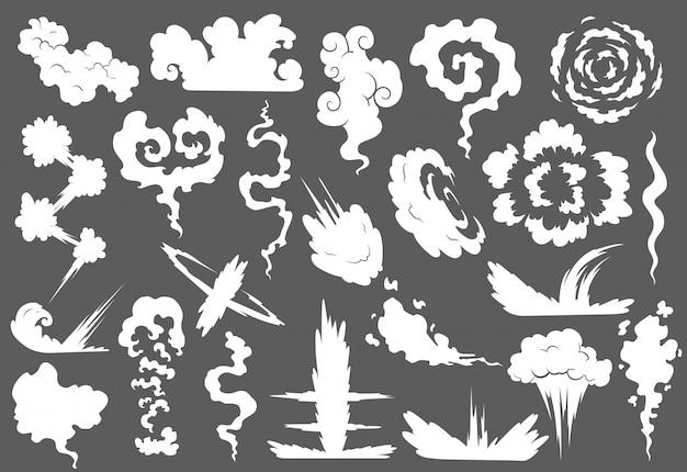 Conjunto de explosão com nuvem de fumaça