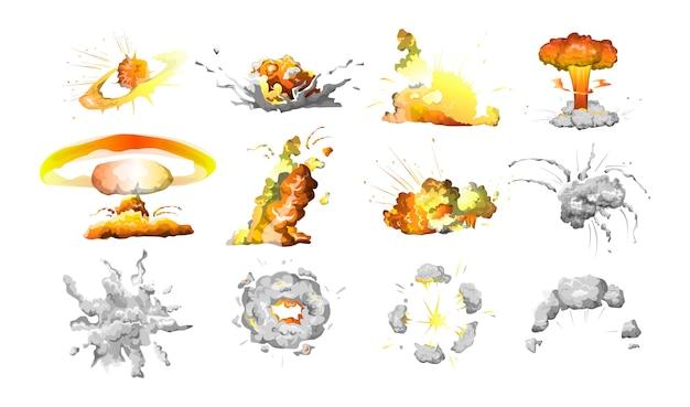 Conjunto de explosão da bomba. fogo e nuvens de fumaça.