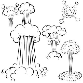 Conjunto de explosões de estilo cômico em fundo branco. elemento para cartaz, cartão, banner, panfleto. ilustração