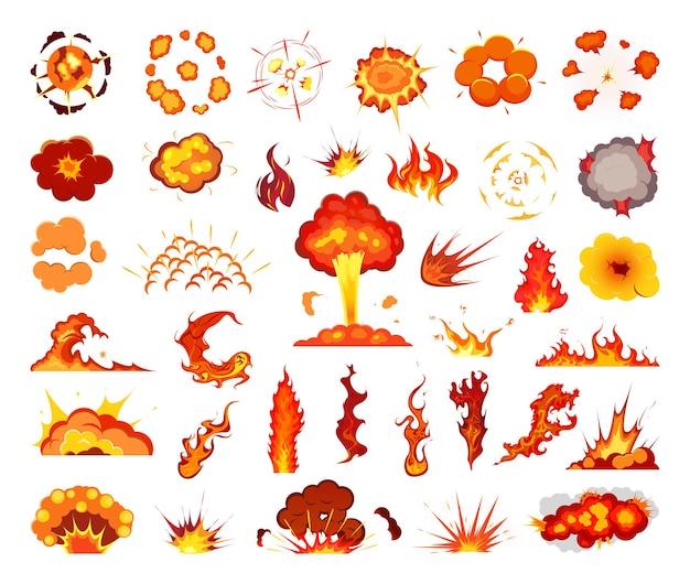 Conjunto de explosões e fogo