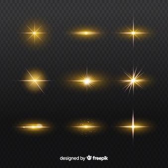 Conjunto de explosões realistas de efeito de luz
