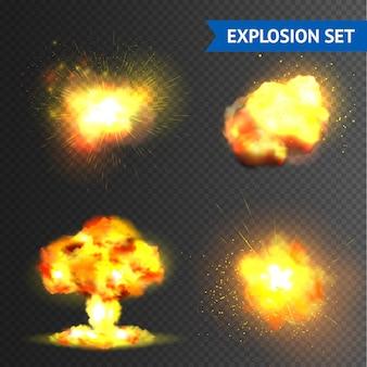 Conjunto de explosões realistas