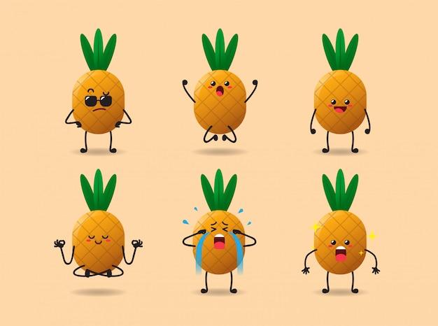 Conjunto de expressão de abacaxi bonito kawaii
