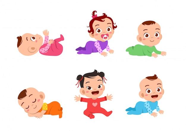 Conjunto de expressão de bebê feliz