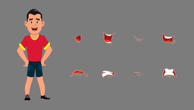 Conjunto de expressão de fala de personagem. emoções diferentes para animação personalizada