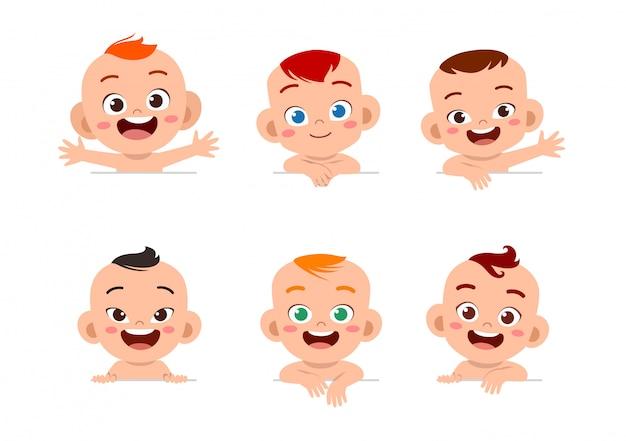 Conjunto de expressão de rosto de bebê