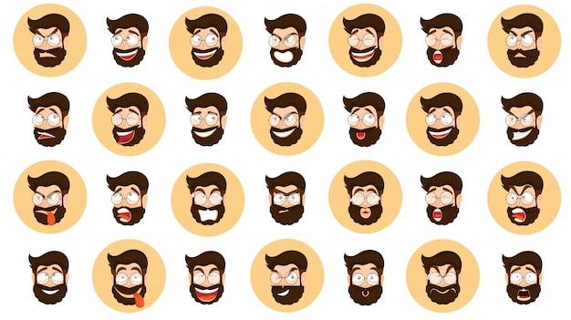 Conjunto de expressão diferente com cara de desenho animado de homem barbudo