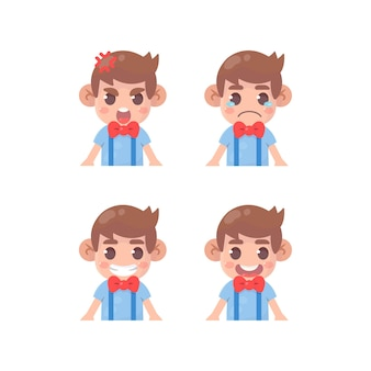 Conjunto de expressão facial de crianças