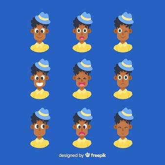 Conjunto de expressão facial de emoções diferentes