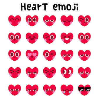 Conjunto de expressão facial de emoji de coração