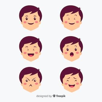 Conjunto de expressão facial de mão desenhada kawaii