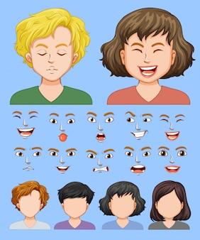 Conjunto de expressão facial masculina e feminina