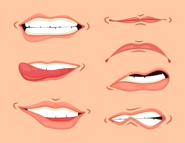 Conjunto de expressões de boca de desenho animado. mão desenhando rindo show língua, feliz e triste boca posa definida