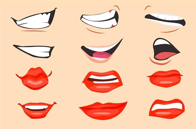 Conjunto de expressões de boca dos desenhos animados. ilustração vetorial