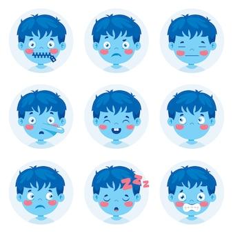 Conjunto de expressões diferentes de crianças