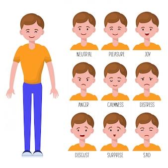 Conjunto de expressões faciais de homem