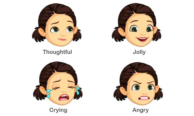 Conjunto de expressões faciais de menina