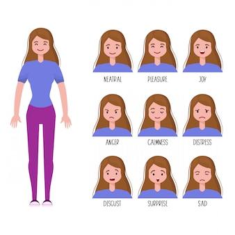 Conjunto de expressões faciais de mulher