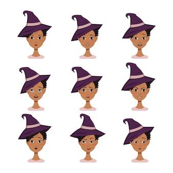 Conjunto de expressões faciais de um avatar de mulher afro-americana com cabelo preto encaracolado em uma sagacidade pontiaguda.