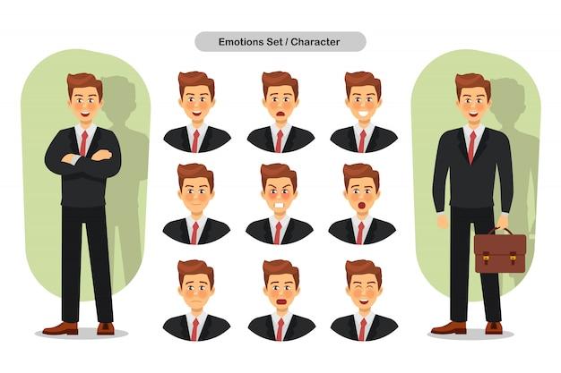 Conjunto de expressões faciais diferentes de homem de negócios. personagem emoji de homem