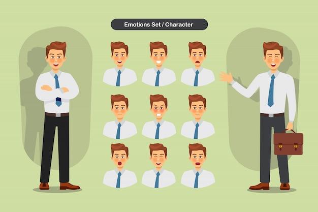 Conjunto de expressões faciais diferentes de homem de negócios.