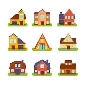 Conjunto de exteriores de casas imobiliárias suburbanas