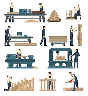 Conjunto de fábrica de carpintaria para madeira