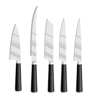 Conjunto de facas de cozinha em aço. grupo isolado da faca do desenho do cozinheiro do cozinheiro chefe, ilustração das ferramentas das facas de carniceiro isolada no fundo branco. facas para cortar. estilo dos desenhos animados