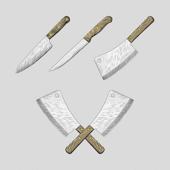 Conjunto de facas de cozinha mão desenhada ilustrações