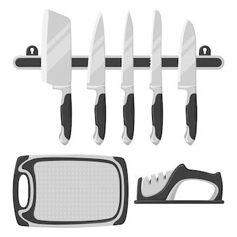 Conjunto de facas de cozinha, tábua de cozinha, amolador de facas.