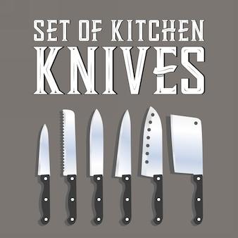 Conjunto de facas de cozinha Vetor Premium