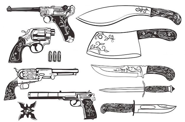 Conjunto de facas e pistolas isoladas em um fundo branco.