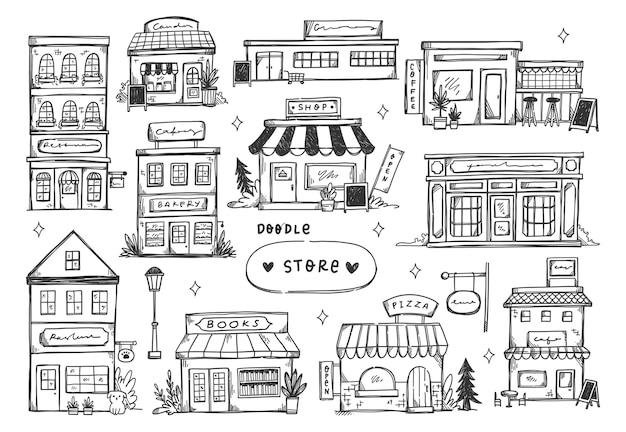 Conjunto de fachada de loja desenhada à mão