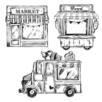 Conjunto de fachadas de loja vintage