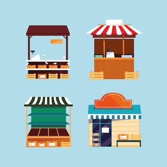 Conjunto de fachadas de lojas e bancas de rua ou de mercado