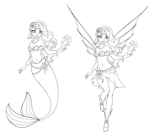 Conjunto de fada dos desenhos animados e sereia. delineado para livro de colorir, isolado em um fundo branco. mão desenhada doodle ilustração.