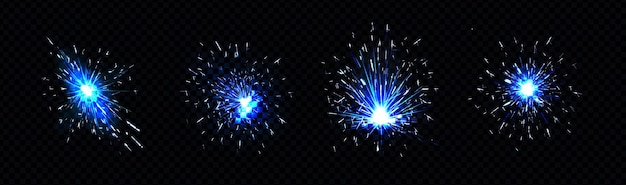 Conjunto de faíscas azuis de fogos de artifício