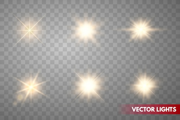 Conjunto de faíscas de ouro isoladas. estrelas brilhantes de vetor