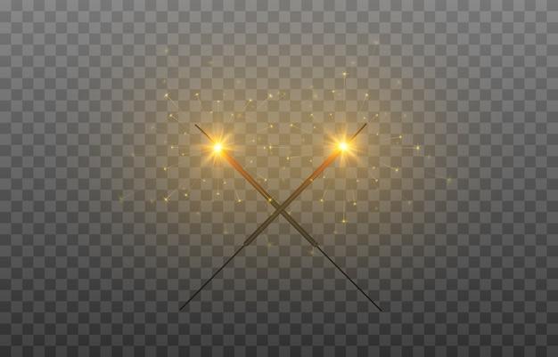Conjunto de faíscas luzes acesas e fogos de artifício