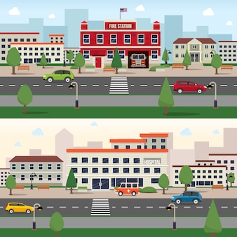Conjunto de faixa de edifícios municipais
