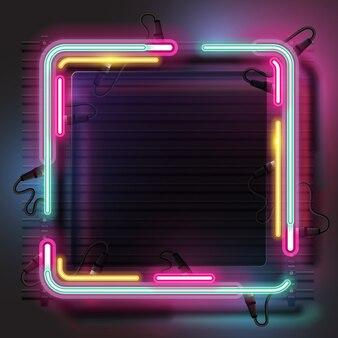 Conjunto de faixa de néon quadrado.