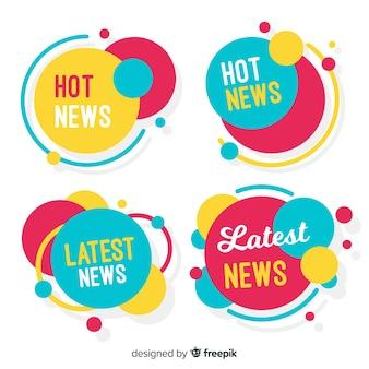 Conjunto de faixa de notícias de formas circulares coloridas