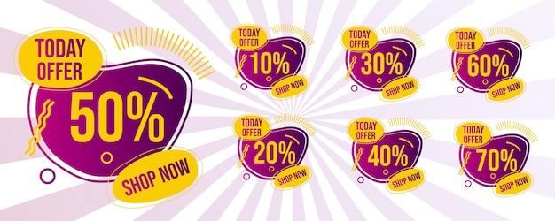 Conjunto de faixa de oferta de venda mega